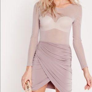Misguided Mauve Mesh Top Wrap Mini Dress
